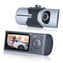 Dual Lens Car Dash Cam with GPS Tracker R300 Dashcam Dashboard 2.7 inch car DVR GPS with Reversing Camera